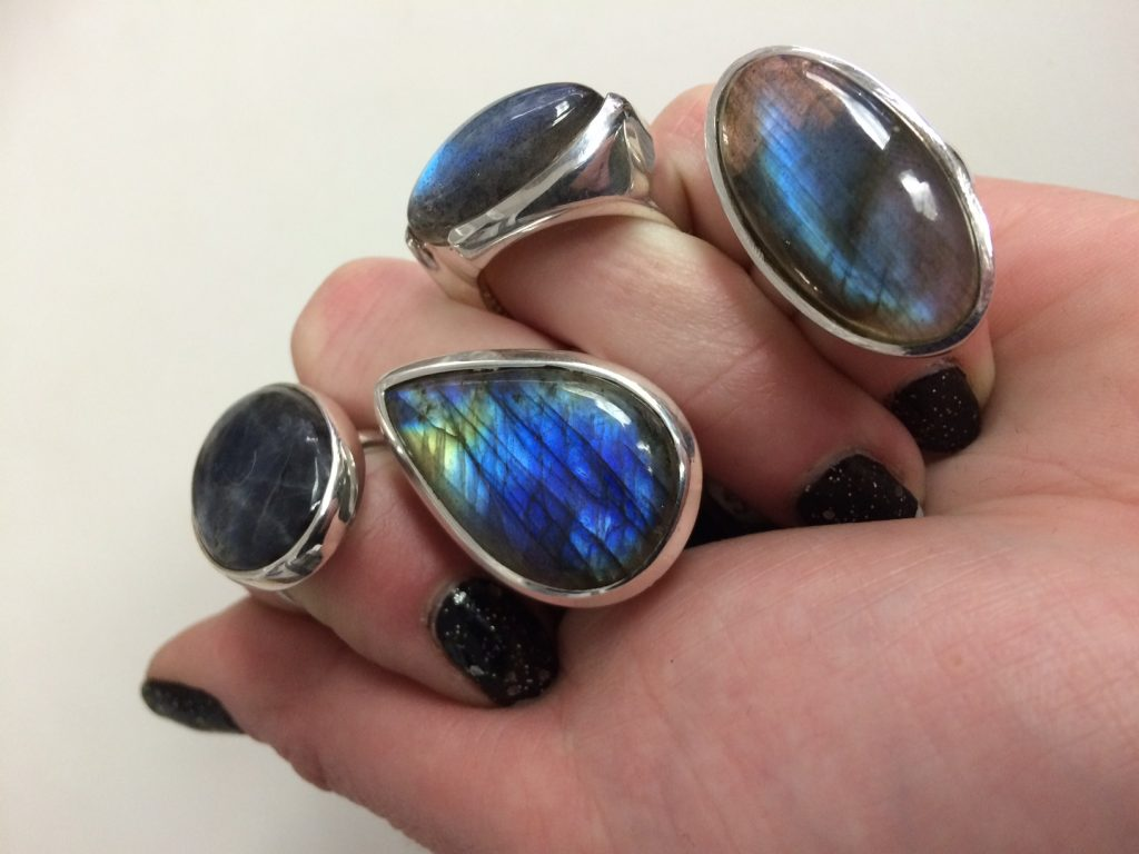 brilliant labradorite rings