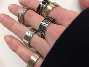 mens stainless steel city rings