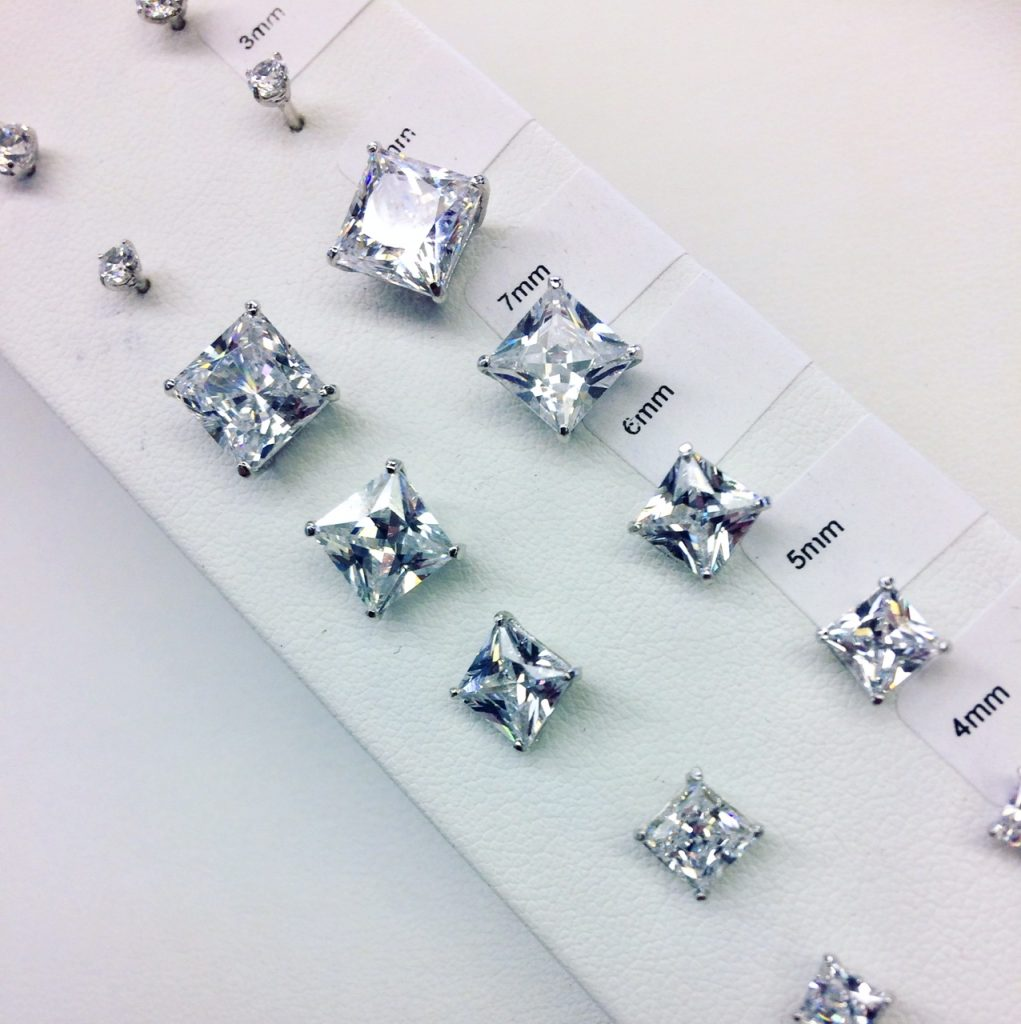 moissanite earrings closeup