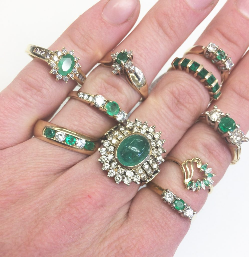 gold and emerald rings