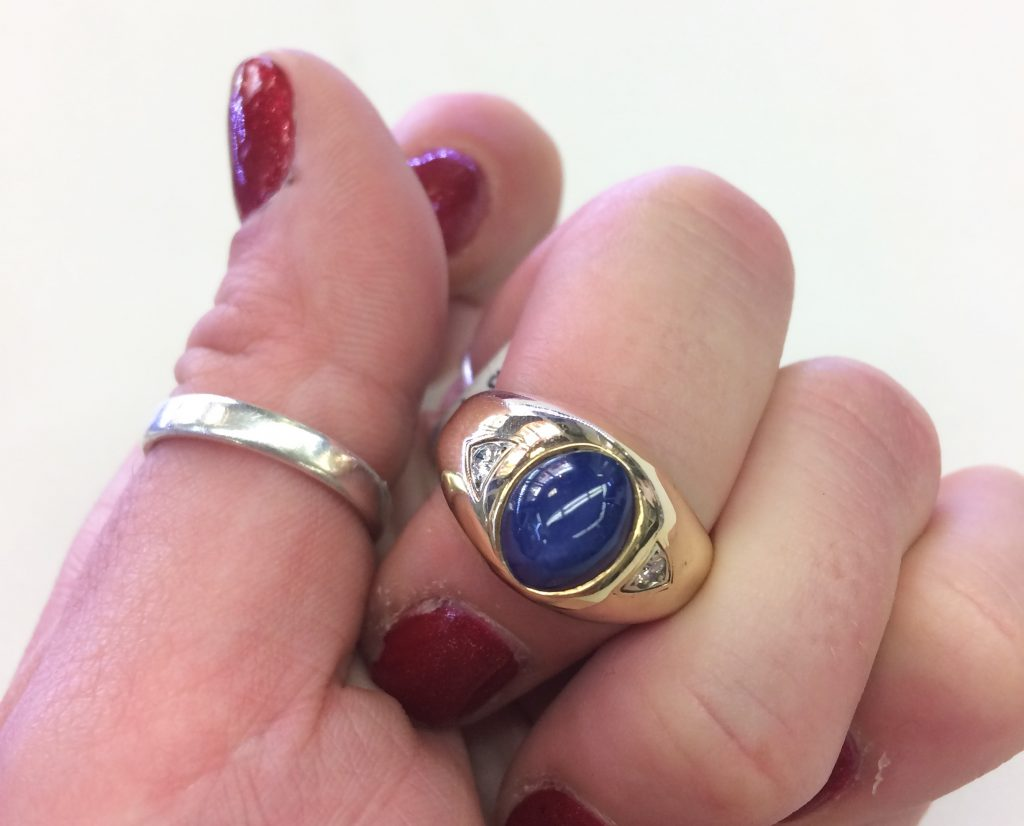 blue star sapphire vintage ring